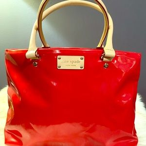 Kate Spade red leather tote bag. Medium size.